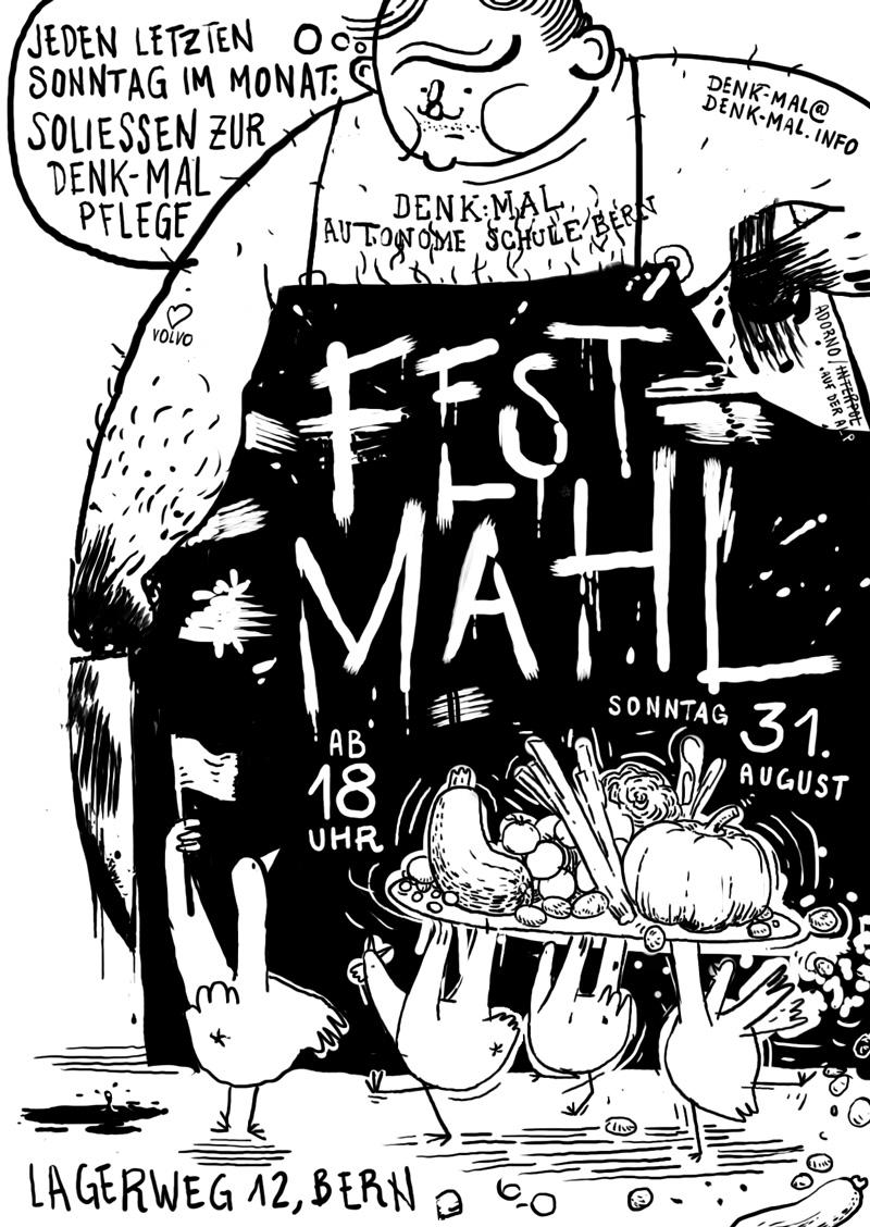 Flyer Fest:Mal, Metzger mit Gänsen