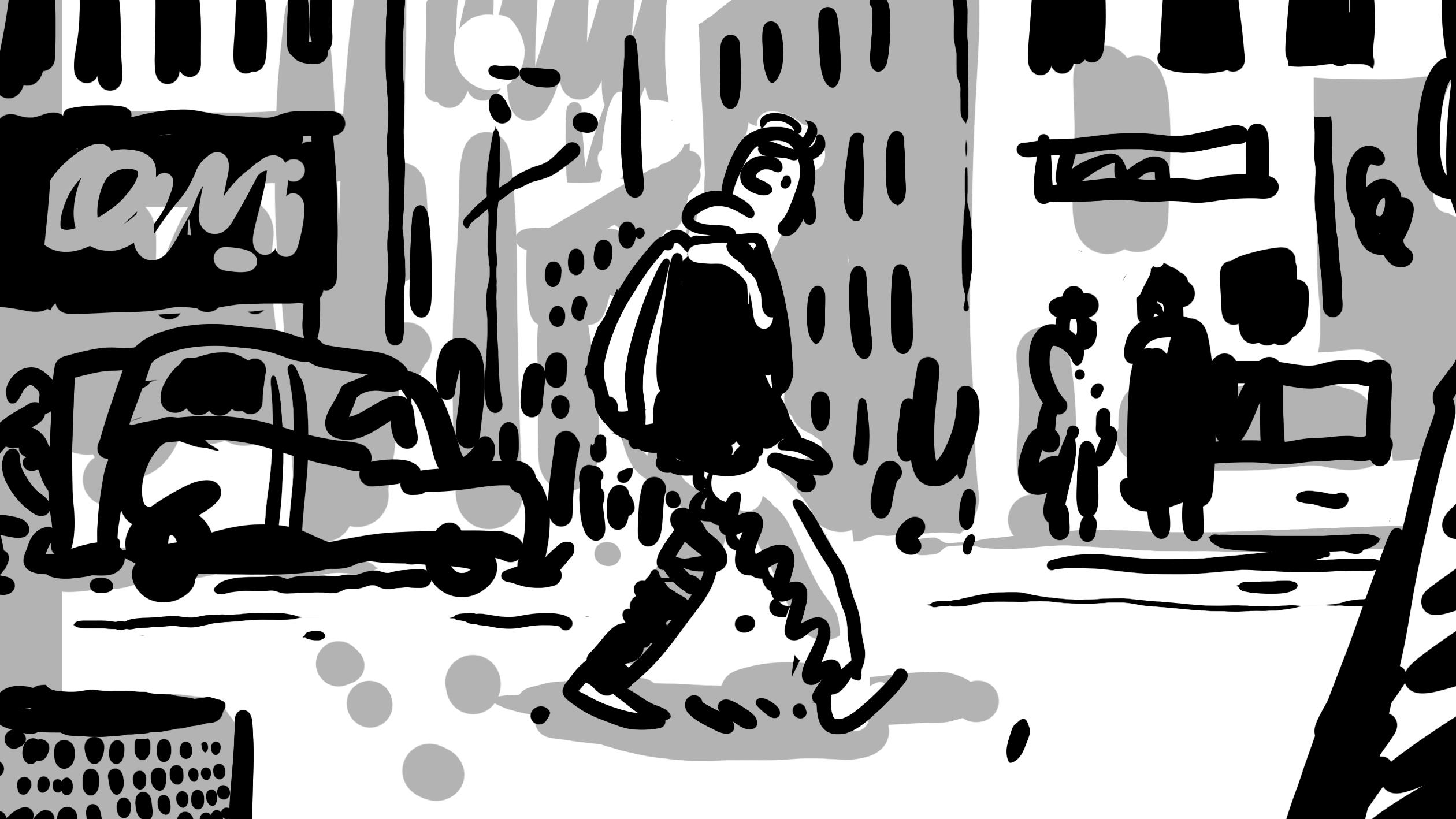 Bild aus Storyboard, Person läuft durch die Stadt