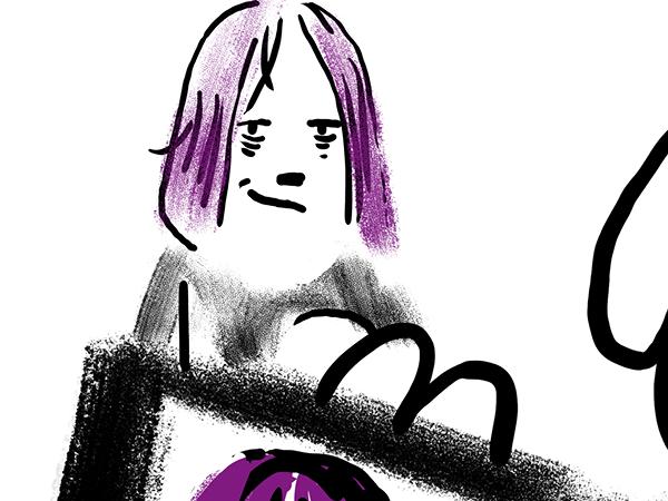 Bild aus Storyboard, Hinter dem Passfoto erscheint das abgekämpfte aber glückliche Gesicht