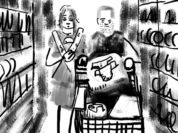 Bild aus Storyboard, Paar, etwas abgekämpft am einkaufen