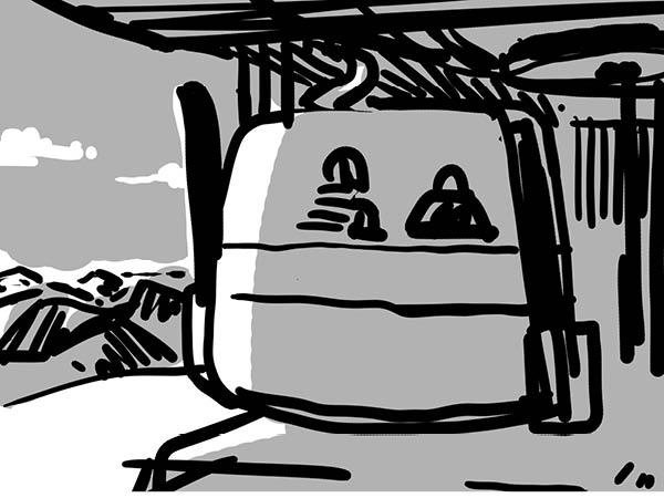 Bild aus Storyboard, Einfahrt Gondelstation