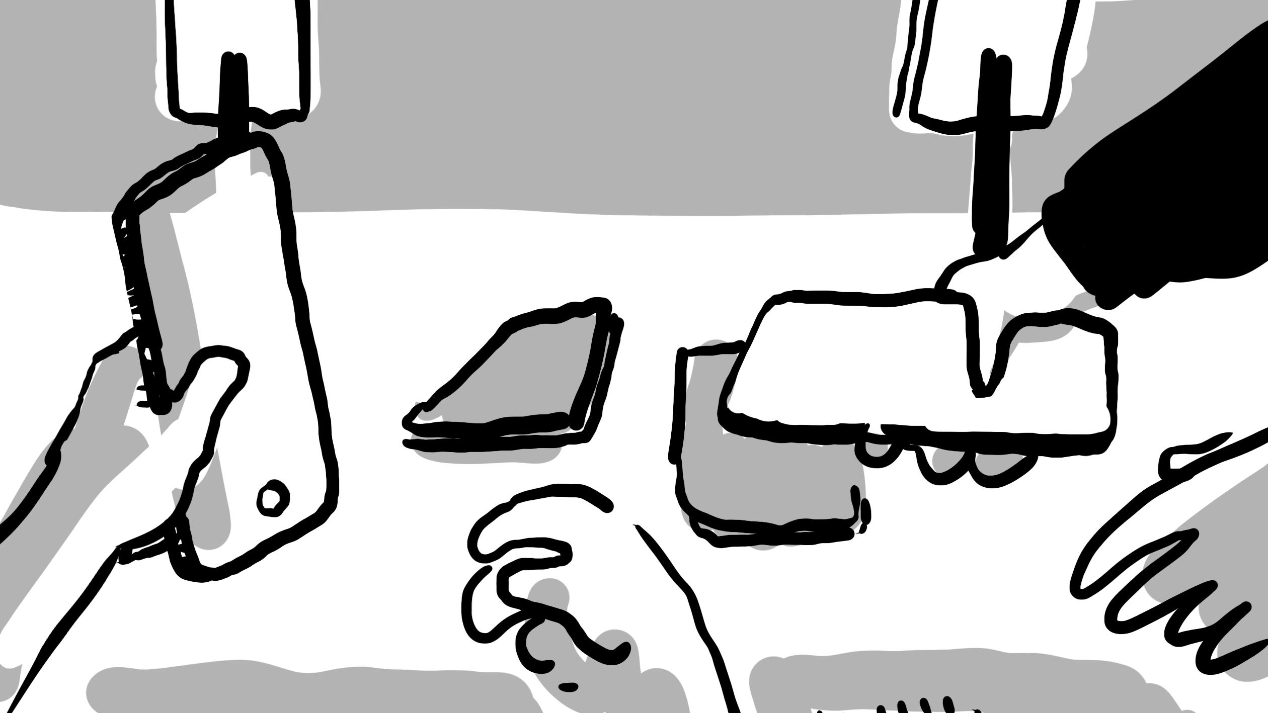 Bild aus Storyboard, Handtisch mit verschiedenen Smartphones