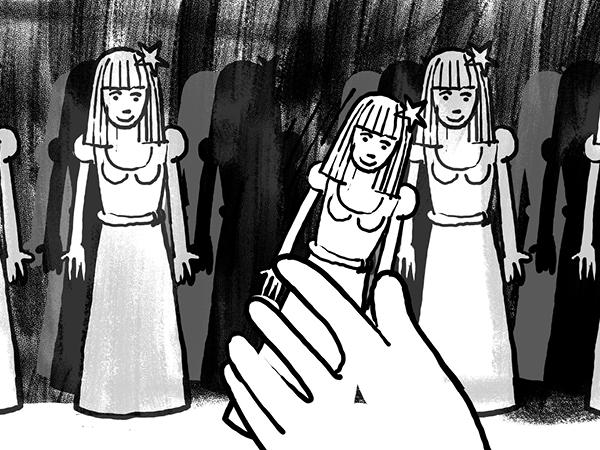 Bild aus Storyboard, Hand nimmt eine Prinzessin