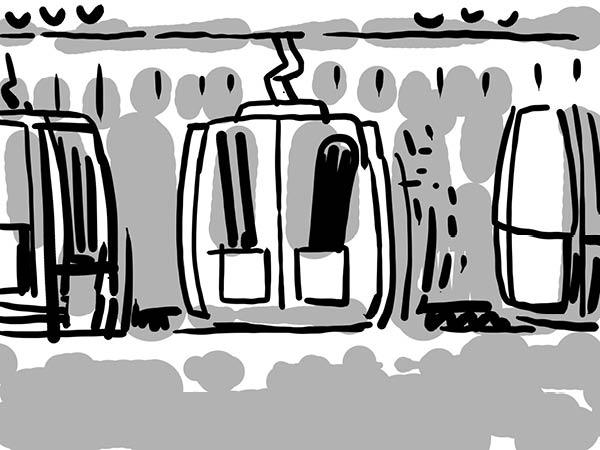 Bild aus Storyboard, Gondel Ansicht aussen