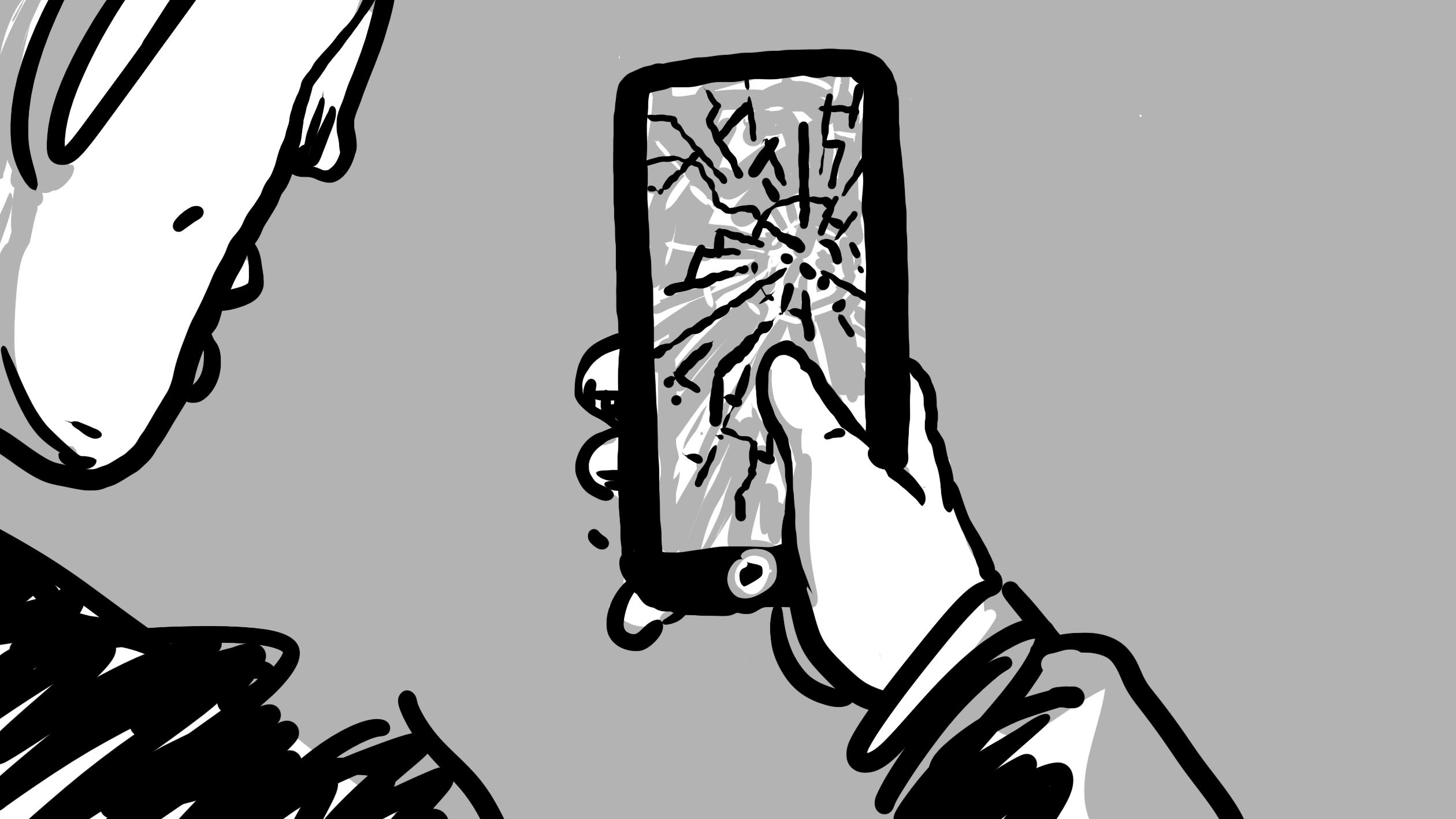 Bild aus Storyboard, Handy kaputt