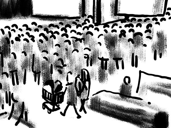 Bild aus Storyboard, Paar verlässt Supermarkt