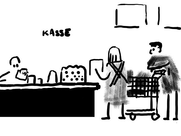 Bild aus Storyboard, Paar vor der Kasse