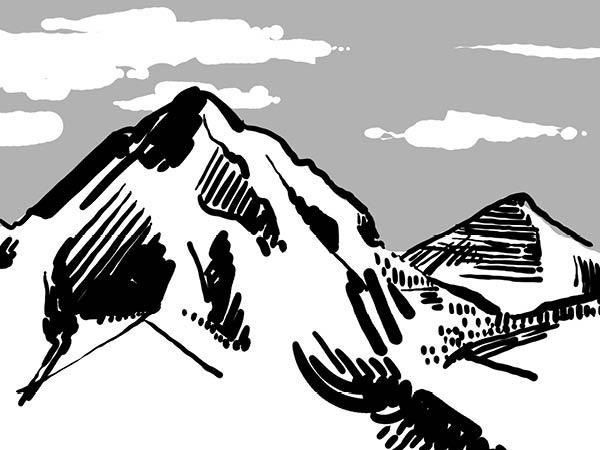 Bild aus Storyboard, Bergpanorama